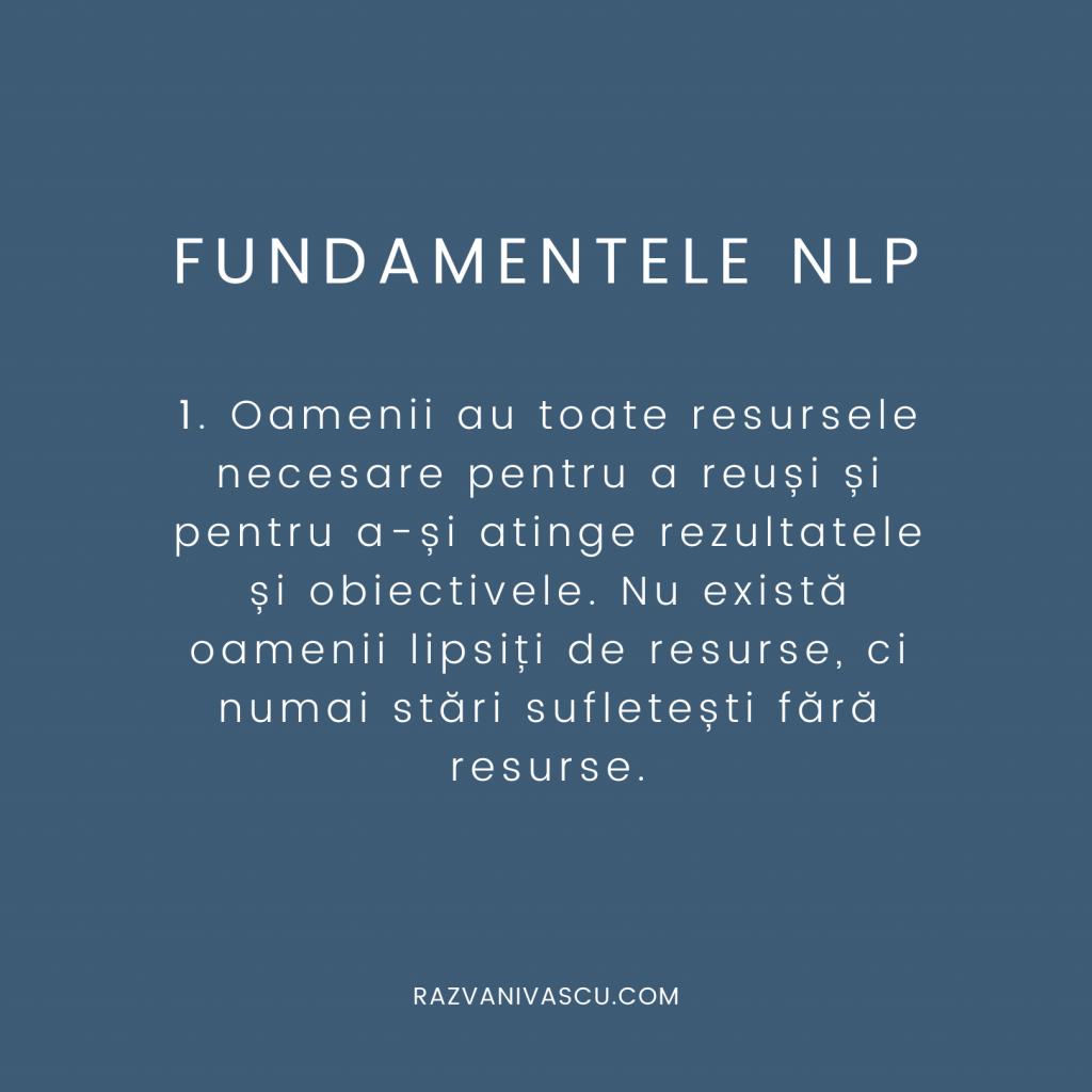 Fundamentele NLP - Oamenii au toate resursele necesare pentru a reuși și pentru a-și atinge rezultatele și obiectivele.